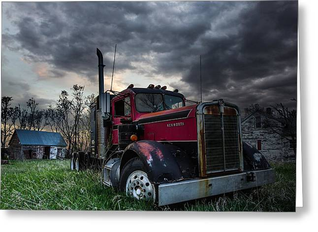 Sheds Greeting Cards - Forgotten Big Rig Greeting Card by Aaron J Groen