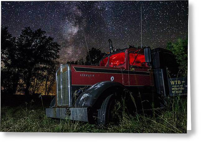 Bullet Holes Greeting Cards - Forgotten Big Rig night version Greeting Card by Aaron J Groen
