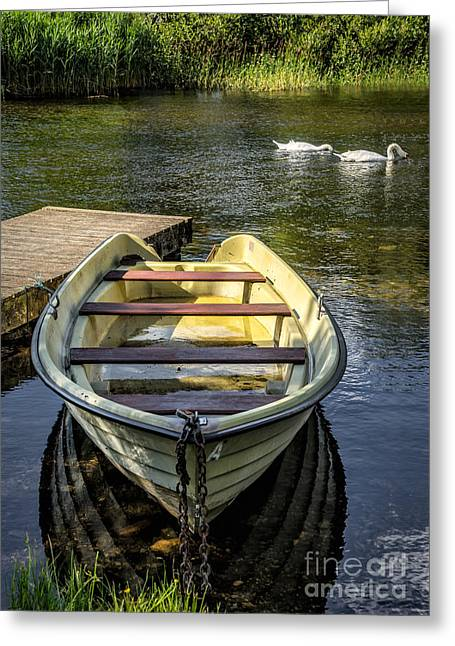 Pier Digital Greeting Cards - Forgotten Boat Greeting Card by Adrian Evans