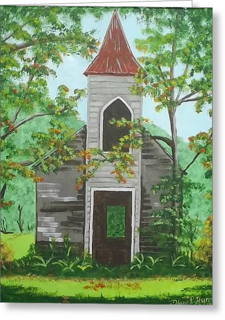Tin Roof Greeting Cards - Forgotten Church in Country Greeting Card by Diane Hunn