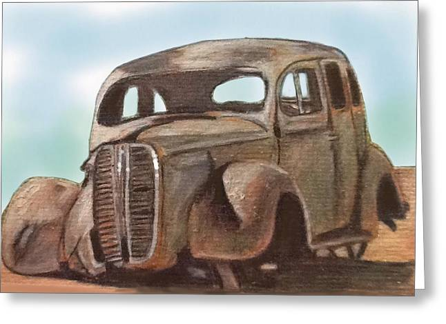 Rusted Cars Drawings Greeting Cards - Forgotten Greeting Card by Helen Bowman