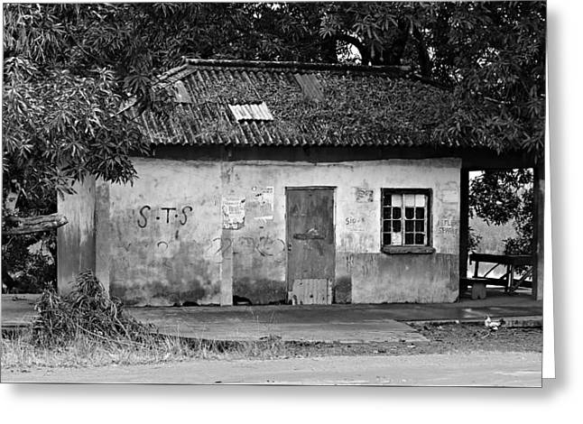 Forgotten - Black And White Greeting Card by Stephen Stookey