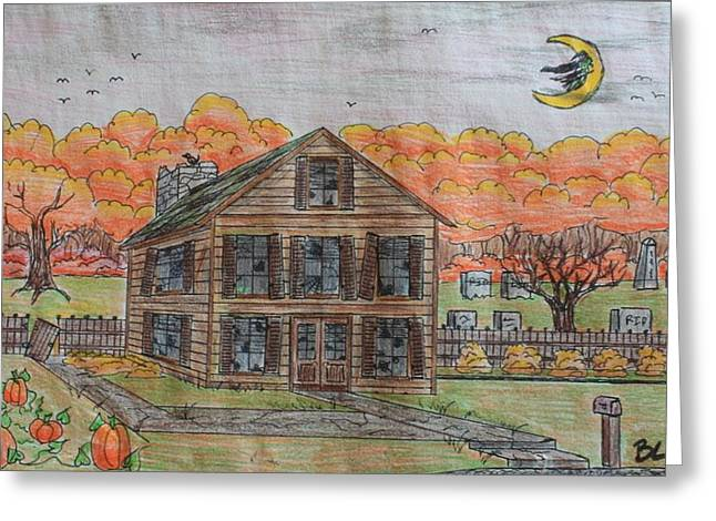 Forgotten Drawings Greeting Cards - Forgotten Manor Greeting Card by Brandon Miller