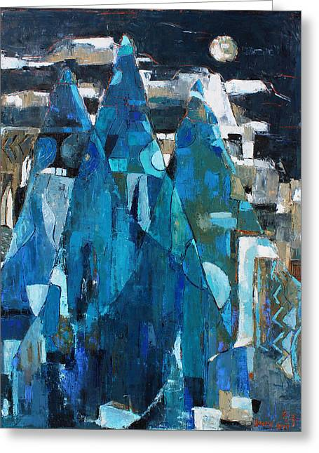 Pallet Knife Greeting Cards - Forgotten Night Greeting Card by Becky Kim