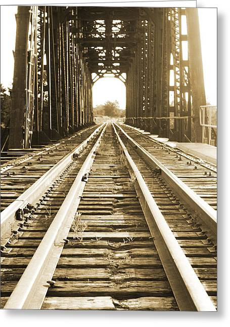 Bedroom Art Greeting Cards - Forgotten Railroad in Sepia Greeting Card by Grant Little
