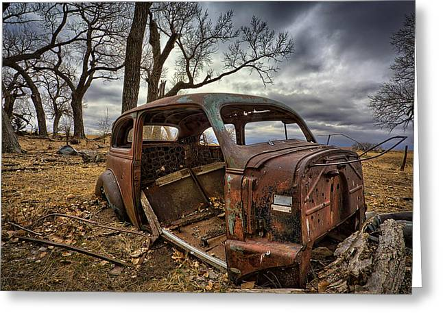 Rusted Cars Greeting Cards - Forgotten Greeting Card by Thomas Zimmerman