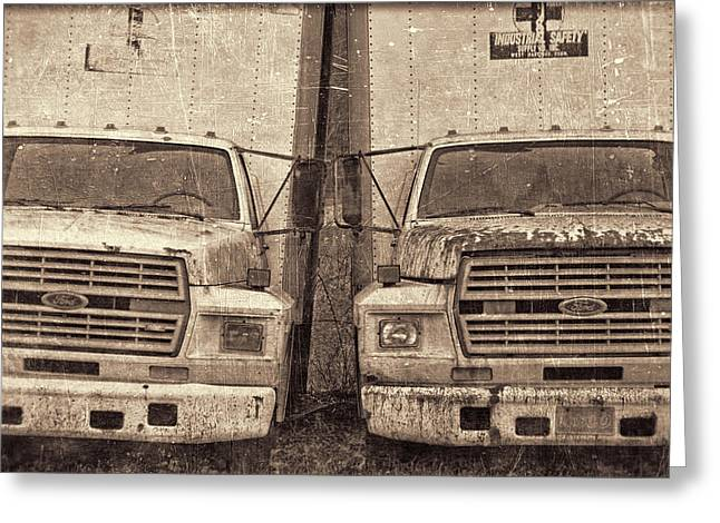 White Truck Greeting Cards - Forgotten Trucks Greeting Card by Jeff  Gettis