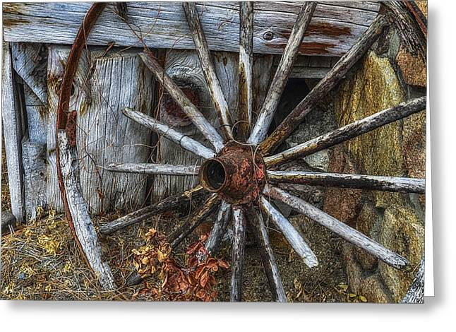Spokes Greeting Cards - Forgotten Wheel Greeting Card by Camille Lopez