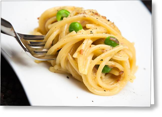 Spaghetti Noodles Greeting Cards - Fork in Carbonara Greeting Card by Patricia Bainter