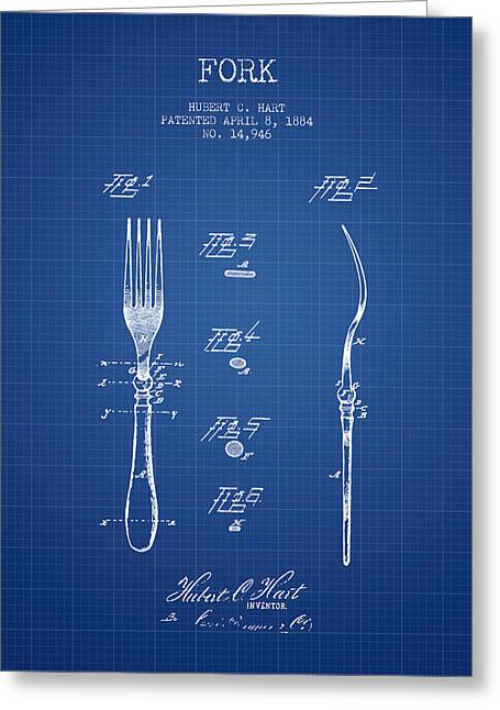 Forks Greeting Cards - Fork Patent from 1884 - Blueprint Greeting Card by Aged Pixel