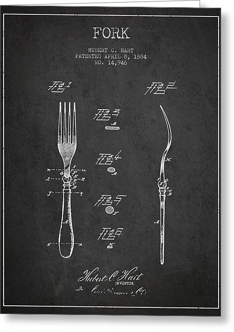 Forks Greeting Cards - Fork Patent from 1884 - Dark Greeting Card by Aged Pixel
