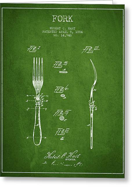 Forks Greeting Cards - Fork Patent from 1884 - Green Greeting Card by Aged Pixel