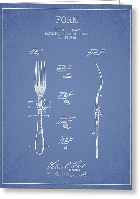 Forks Greeting Cards - Fork Patent from 1884 - Light Blue Greeting Card by Aged Pixel