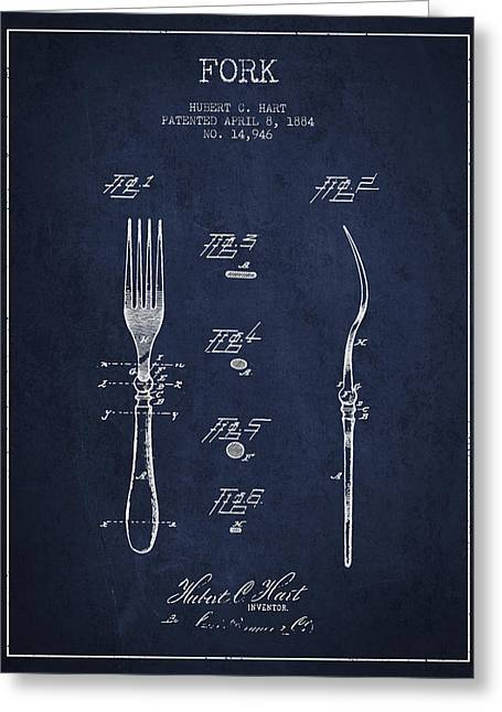 Forks Greeting Cards - Fork Patent from 1884 - Navy Blue Greeting Card by Aged Pixel