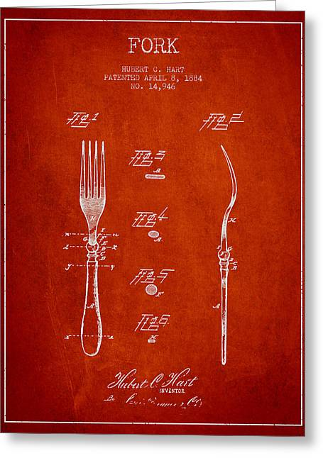 Forks Greeting Cards - Fork Patent from 1884 - Red Greeting Card by Aged Pixel