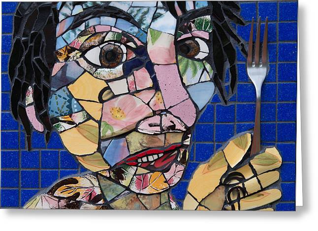 Mosaic Glass Portrait Mixed Media Greeting Cards - Forked Again  Greeting Card by Gila Rayberg