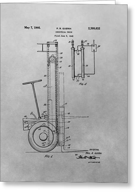 Forklift Patent Drawing Greeting Card by Dan Sproul