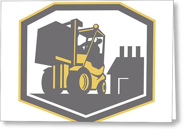 Logistics Greeting Cards - Forklift Truck Materials Handling Logistics Retro Greeting Card by Aloysius Patrimonio