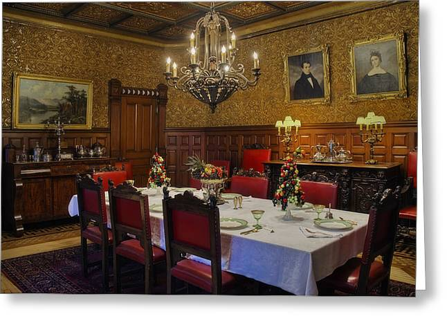 Banquet Greeting Cards - Formal Dining Room Greeting Card by Susan Candelario