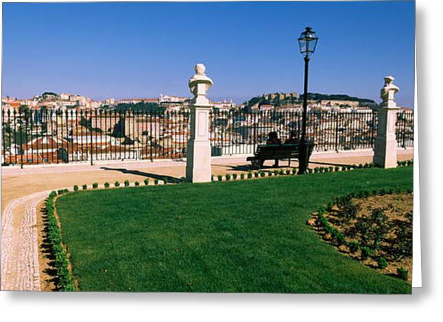 Garden Scene Photographs Greeting Cards - Formal Garden In A City, Alfama Greeting Card by Panoramic Images