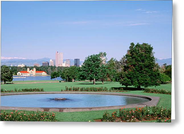 Garden Scene Greeting Cards - Formal Garden In City Park With City Greeting Card by Panoramic Images