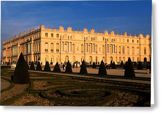 Chateau Greeting Cards - Formal Garden In Front Of A Castle Greeting Card by Panoramic Images