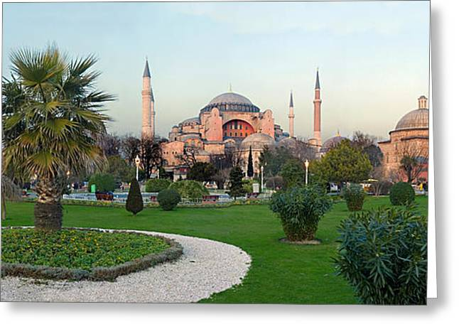 Hagia Sofia Greeting Cards - Formal Garden In Front Of A Church, Aya Greeting Card by Panoramic Images