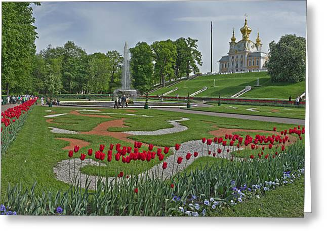 The Church Greeting Cards - Formal Garden In Front Of A Church Greeting Card by Panoramic Images