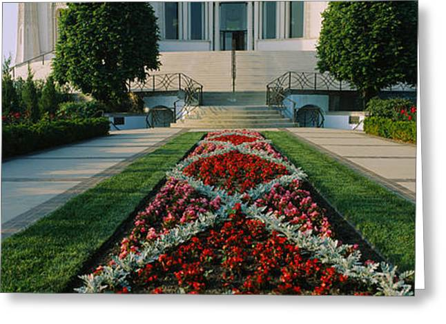 Formal Garden In Front Of A Temple Greeting Card by Panoramic Images