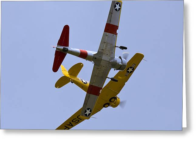 Vultee Bt-13 Valiant Greeting Cards - Formation Flight Greeting Card by Tim Mulina