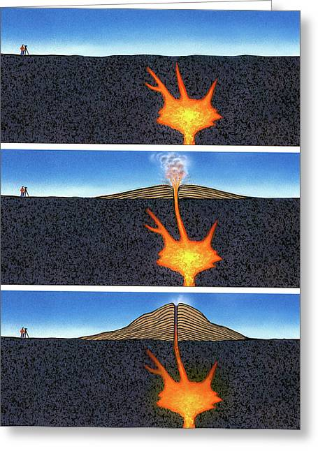 Formation Of A Volcano Greeting Card by David A. Hardy