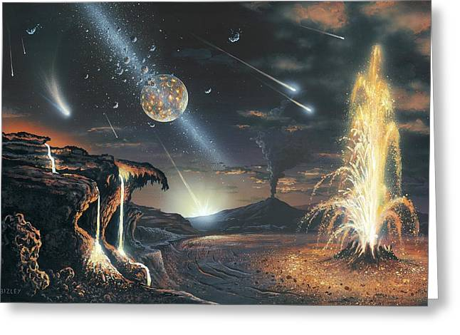 Formation Of The Moon, Artwork Greeting Card by Science Photo Library