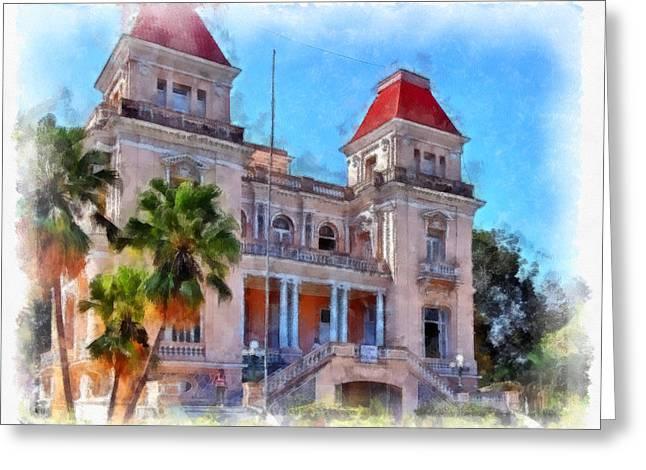 Santiago Cuba Greeting Cards - Former Bacardi Residence Greeting Card by Dawn Currie