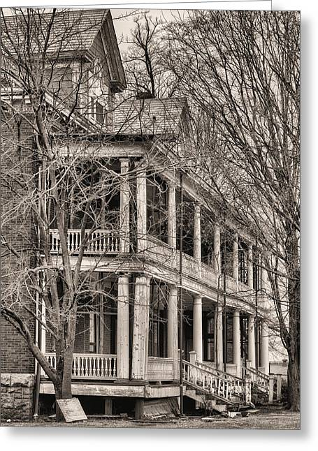 Officers Quarters Greeting Cards - Former Grandeur BW Greeting Card by JC Findley