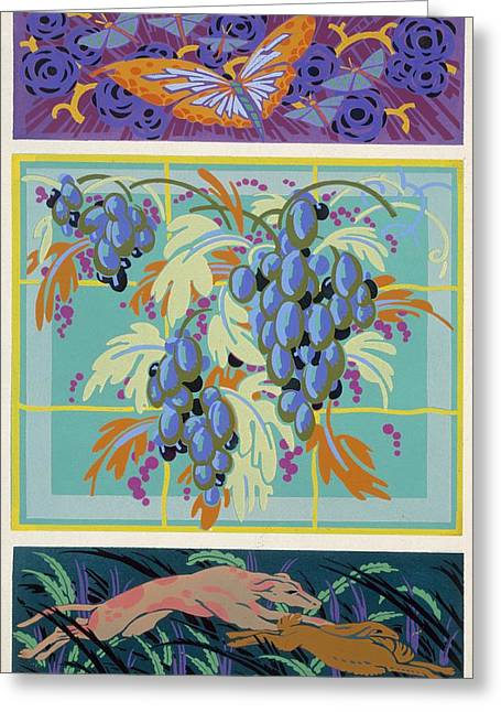 Grape Vines Paintings Greeting Cards - Formes et couleurs Greeting Card by Auguste H Thomas