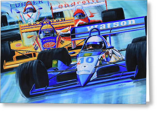 Formula 1 Race Greeting Card by Hanne Lore Koehler