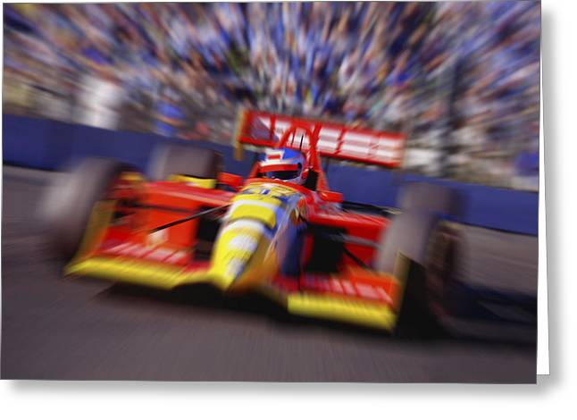 Gathering Greeting Cards - Formula Racing Car At Speed Greeting Card by Don Hammond