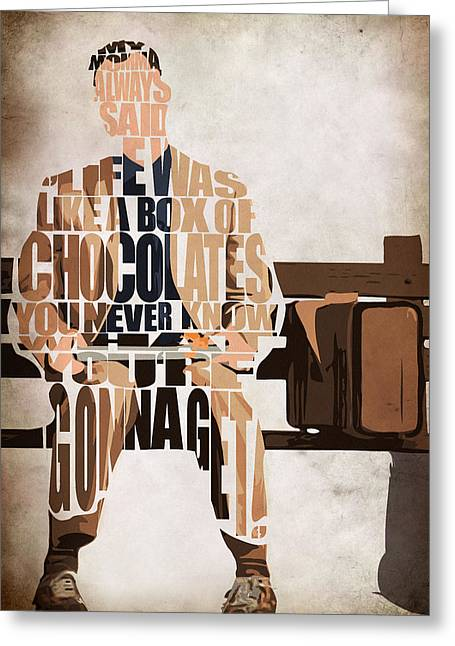 Typography Print Greeting Cards - Forrest Gump - Tom Hanks Greeting Card by Ayse Deniz