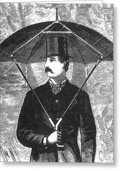 Quirky Greeting Cards - Forsters Umbrella Support, 1888 Greeting Card by Science Source