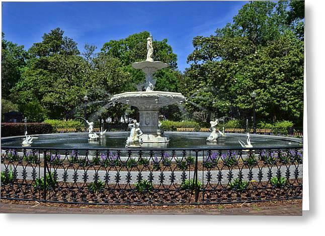 Savannah Parks Gardens Greeting Cards - Forsyth Fountain 5 Greeting Card by Allen Beatty