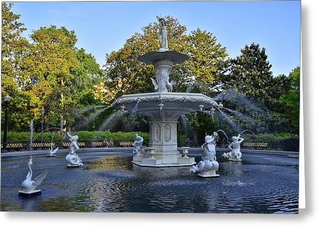 Savannah Parks Gardens Greeting Cards - Forsyth Fountain 3 Greeting Card by Allen Beatty