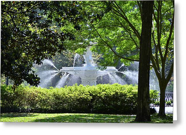 Savannah Parks Gardens Greeting Cards - Forsyth Fountain 4 Greeting Card by Allen Beatty