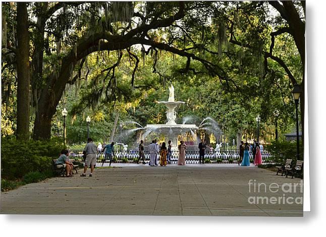 Savannah Parks Gardens Greeting Cards - Forsyth Fountain Greeting Card by Allen Beatty
