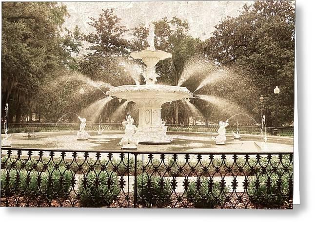Savannah Parks Gardens Greeting Cards - Forsyth Fountain Greeting Card by Angela Mahoney