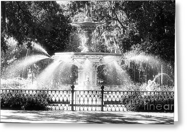 Savannahs Greeting Cards - Forsyth Park Fountain Greeting Card by John Rizzuto