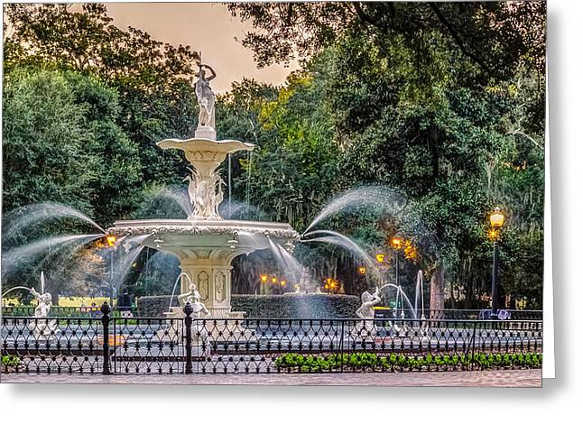 Historic Architecture Greeting Cards - Forsyth Park Greeting Card by Rob Sellers