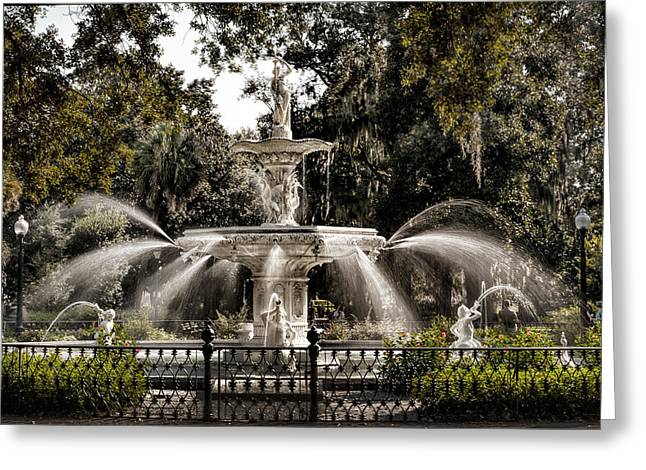 Juliette Low Greeting Cards - Forsythe Fountain Savannah Greeting Card by Diana Powell