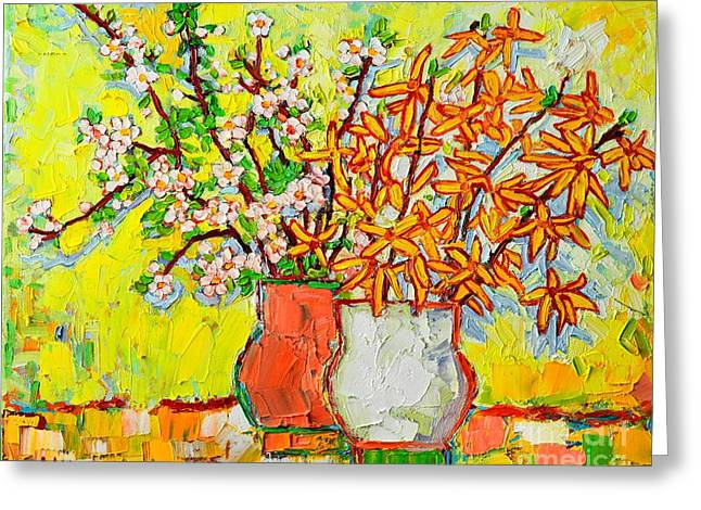 Table Greeting Cards - Forsythia And Cherry Blossoms Spring Flowers Greeting Card by Ana Maria Edulescu
