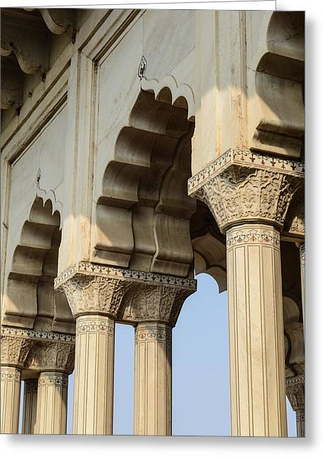 Medieval Temple Greeting Cards - Fort Agra Pillars in India Greeting Card by Brandon Bourdages
