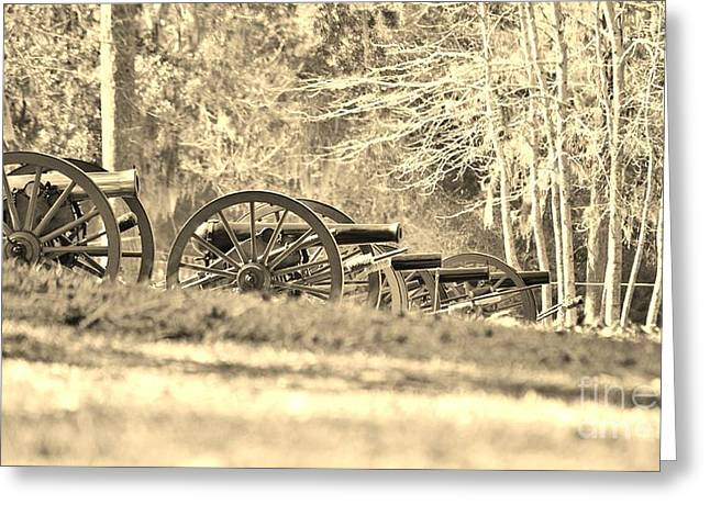 Confederate Hospital Greeting Cards - Fort Anderson Civil War Cannons In Sepia Greeting Card by Jocelyn Stephenson